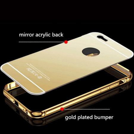 new styles 4cdf8 4fc2b iPhone 7 Bumper Mirror Back Case Cover golden color